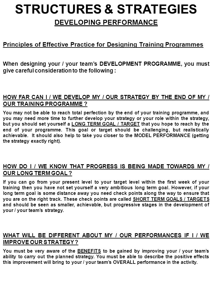 STRUCTURES & STRATEGIES DEVELOPING PERFORMANCE