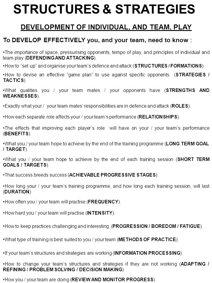 STRUCTURES & STRATEGIES DEVELOPMENT OF INDIVIDUAL, AND TEAM, PLAY