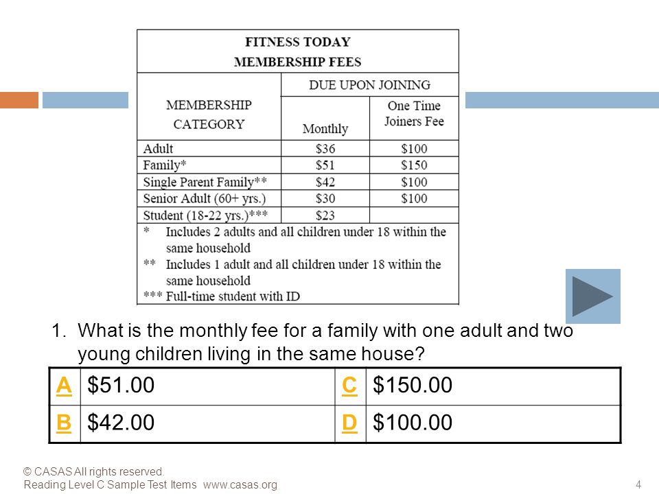 1. What is the monthly fee for a family with one adult and two young children living in the same house