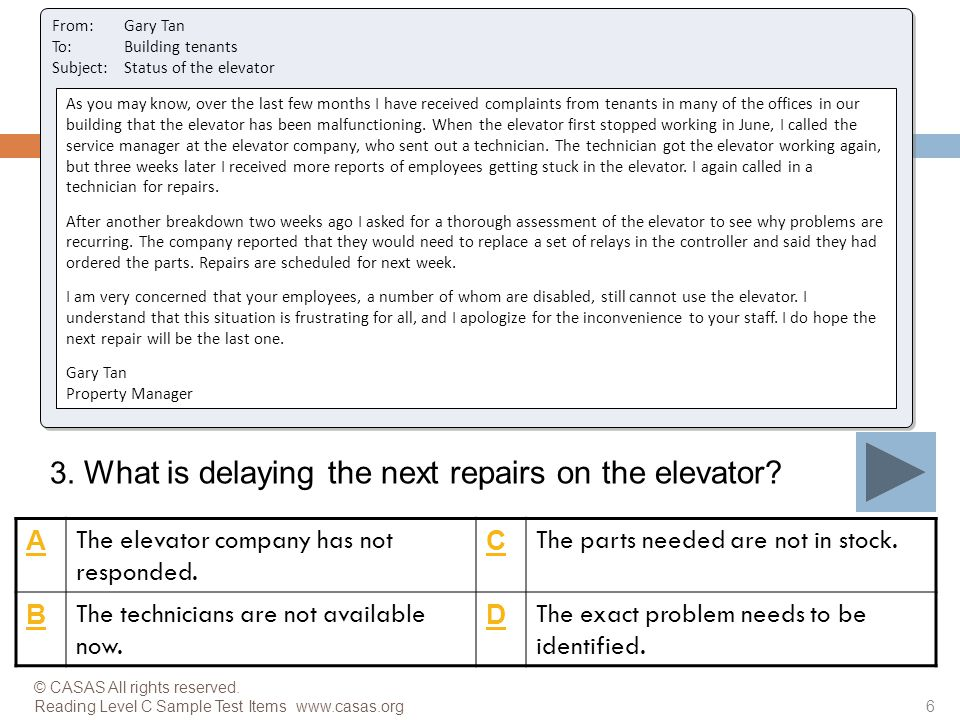 3. What is delaying the next repairs on the elevator