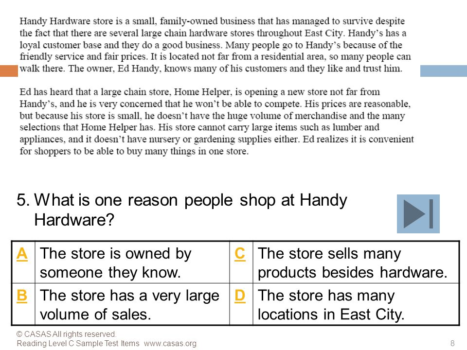 What is one reason people shop at Handy Hardware