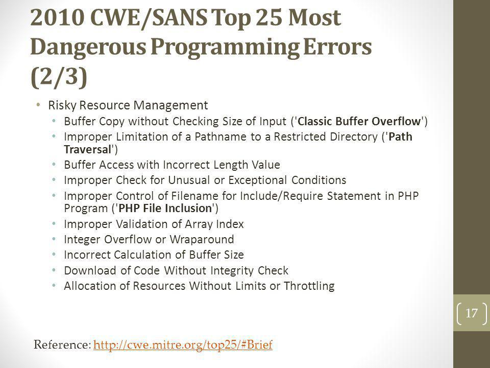2010 CWE/SANS Top 25 Most Dangerous Programming Errors (2/3)