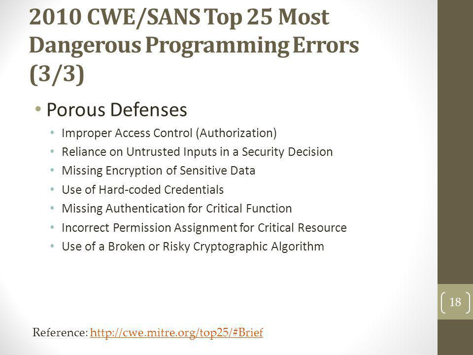 2010 CWE/SANS Top 25 Most Dangerous Programming Errors (3/3)