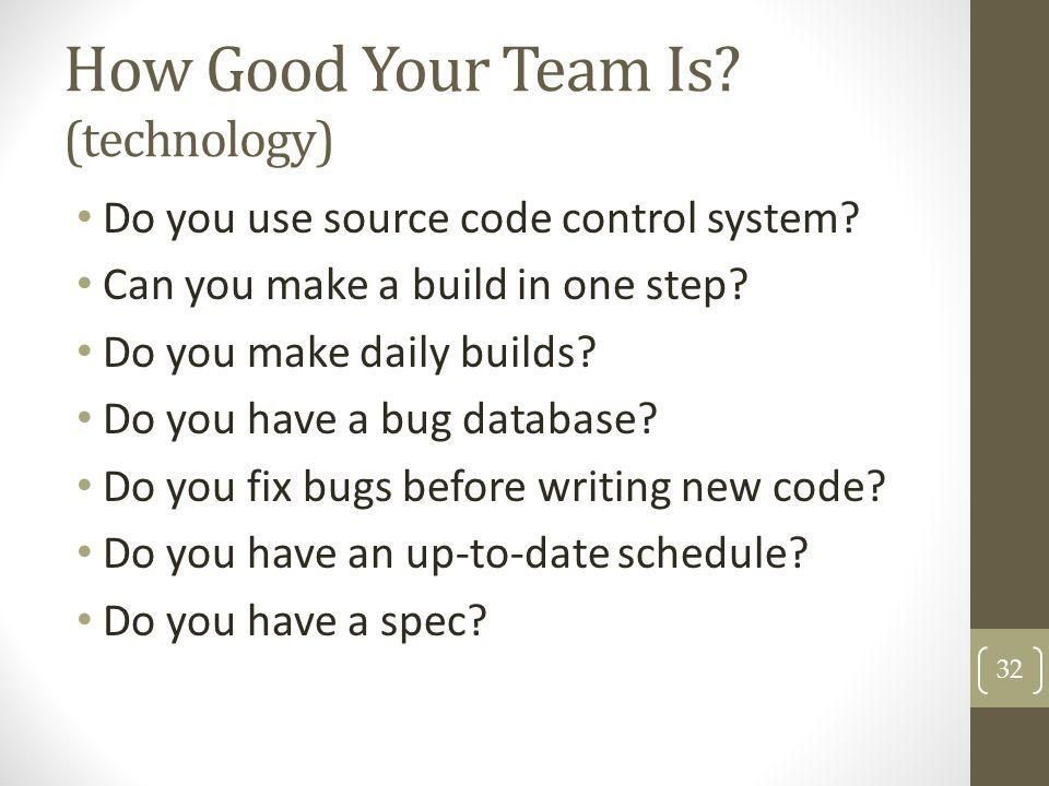 How Good Your Team Is (technology)