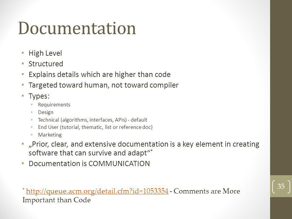 Documentation High Level Structured