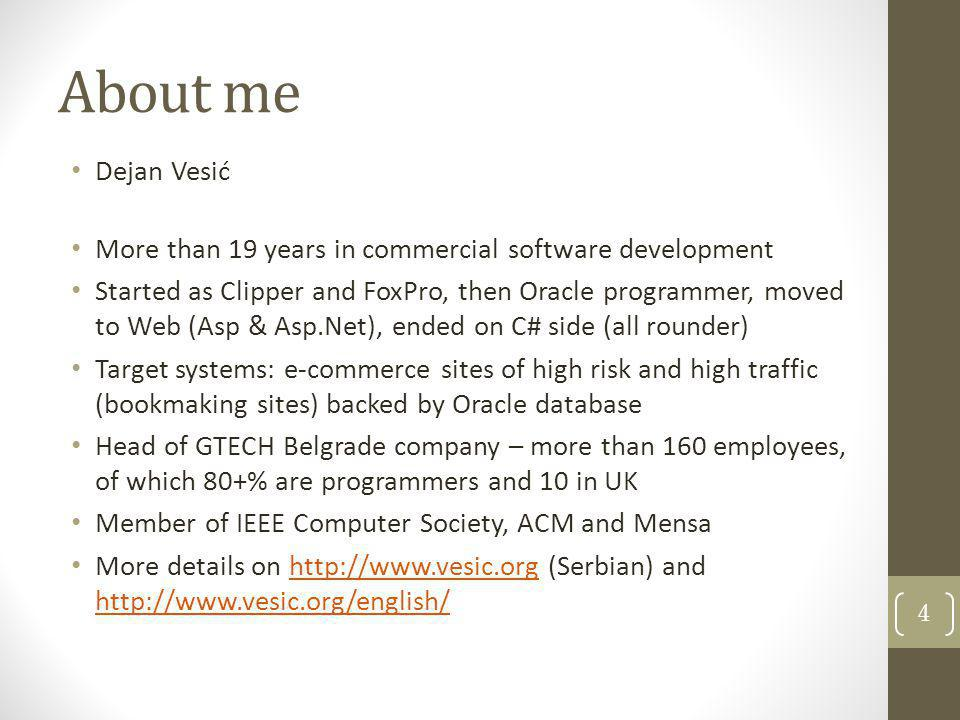 About me Dejan Vesić. More than 19 years in commercial software development.