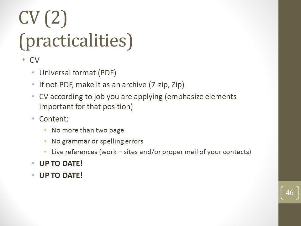 CV (2) (practicalities)