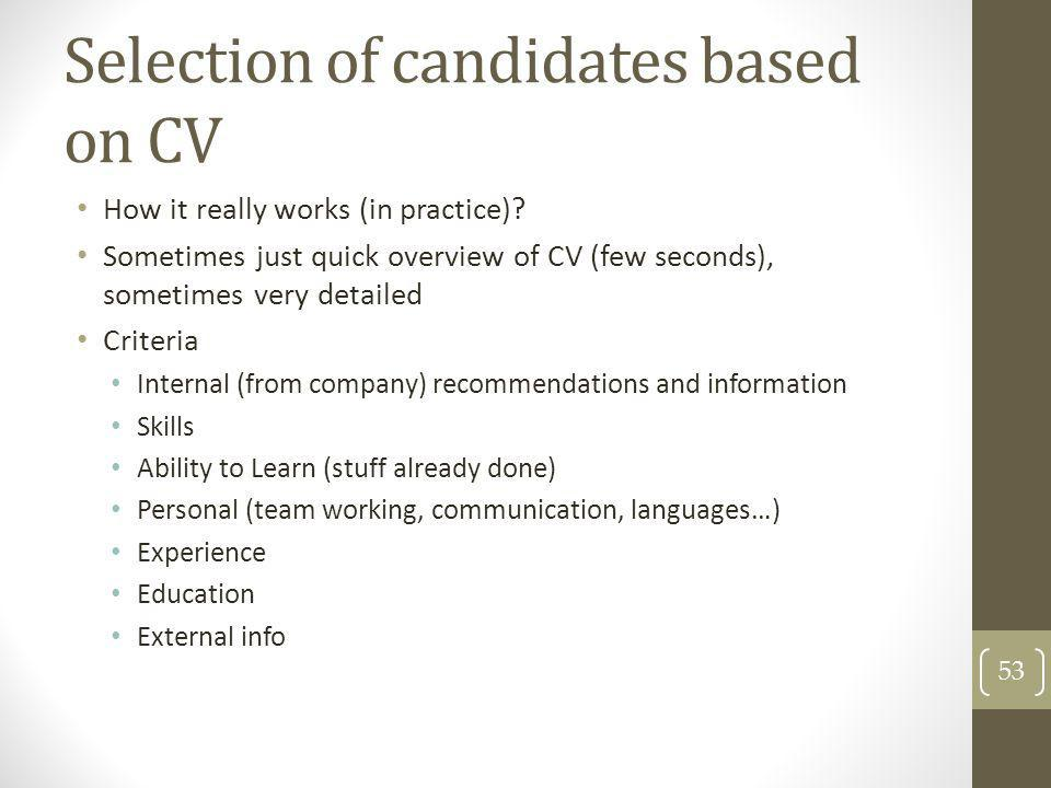 Selection of candidates based on CV