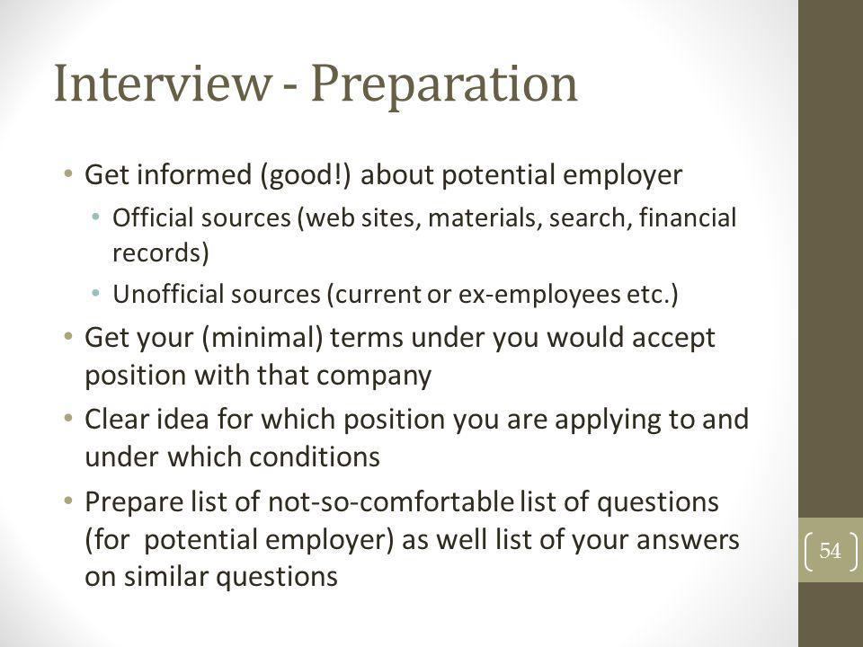 Interview - Preparation