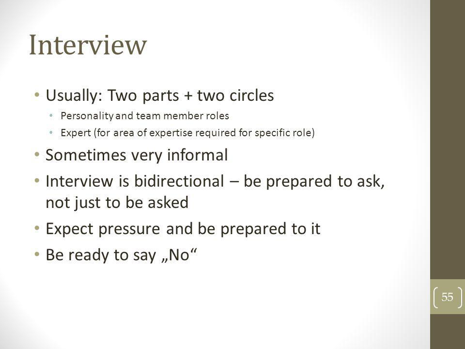 Interview Usually: Two parts + two circles Sometimes very informal