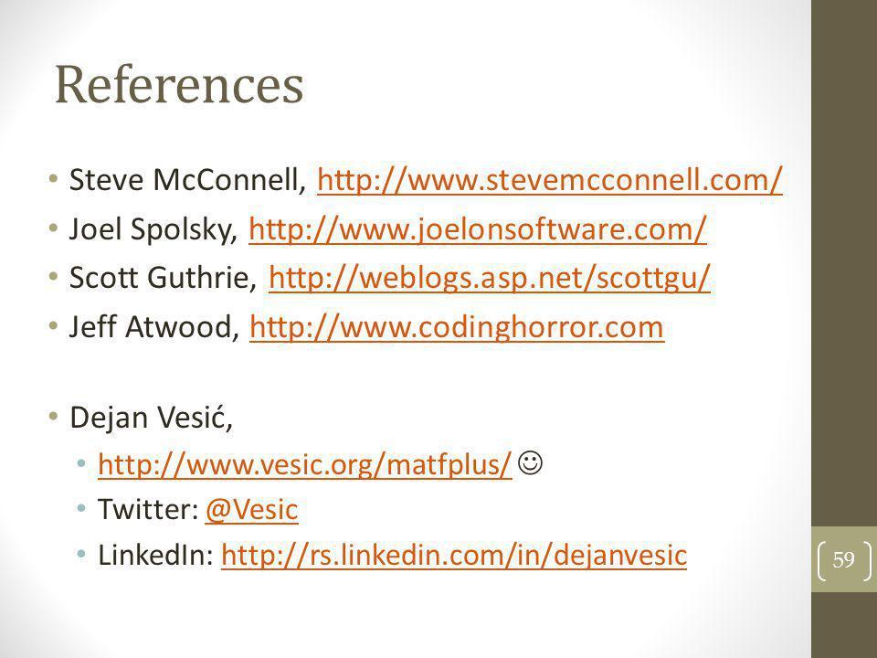 References Steve McConnell, http://www.stevemcconnell.com/