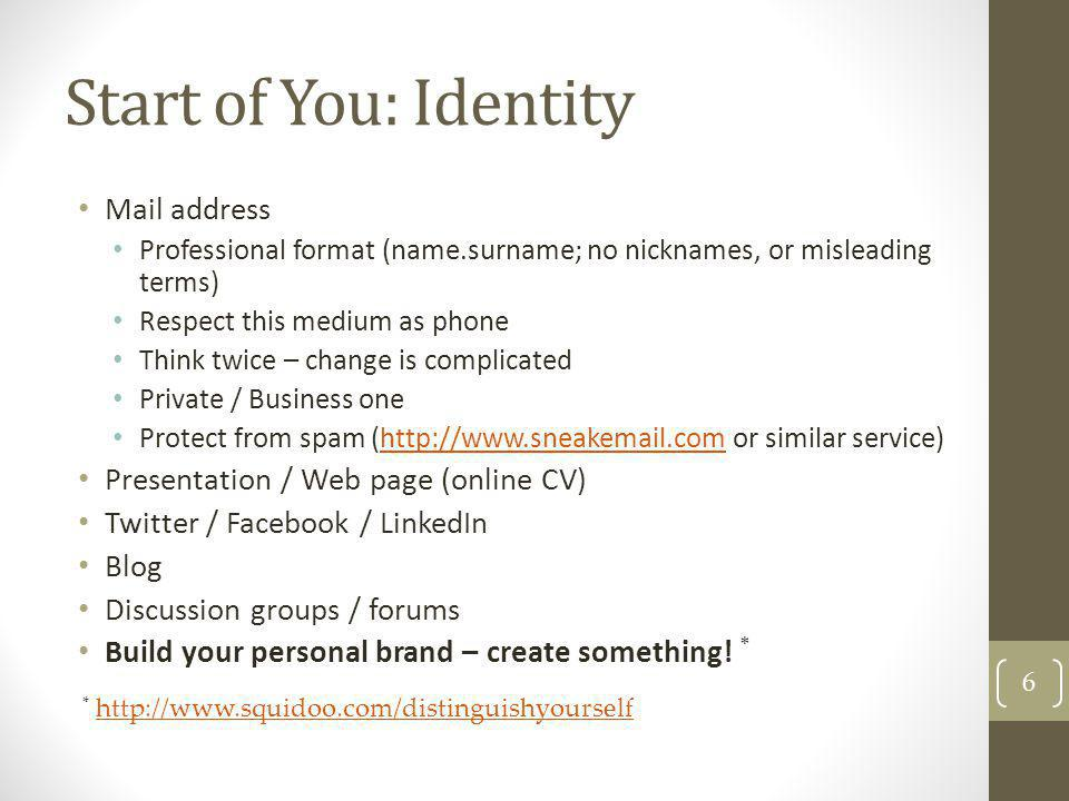 Start of You: Identity Mail address