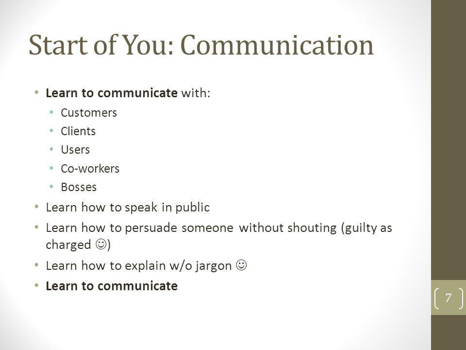 Start of You: Communication