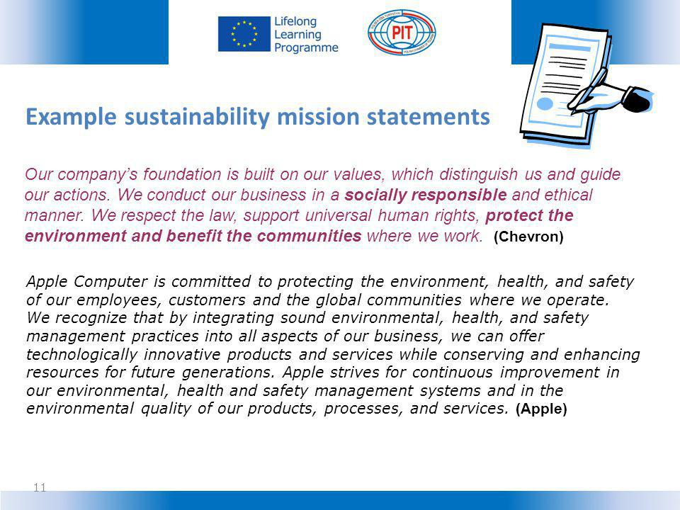 Example sustainability mission statements
