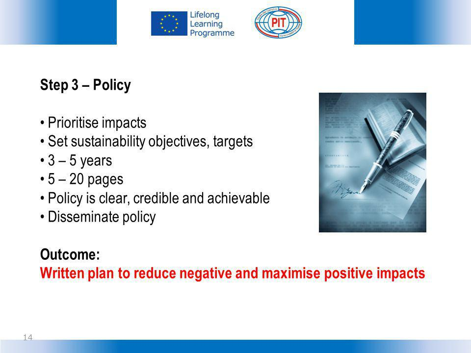 Step 3 – Policy Prioritise impacts. Set sustainability objectives, targets. 3 – 5 years. 5 – 20 pages.