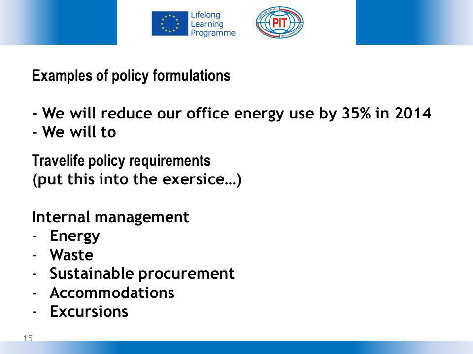 Examples of policy formulations