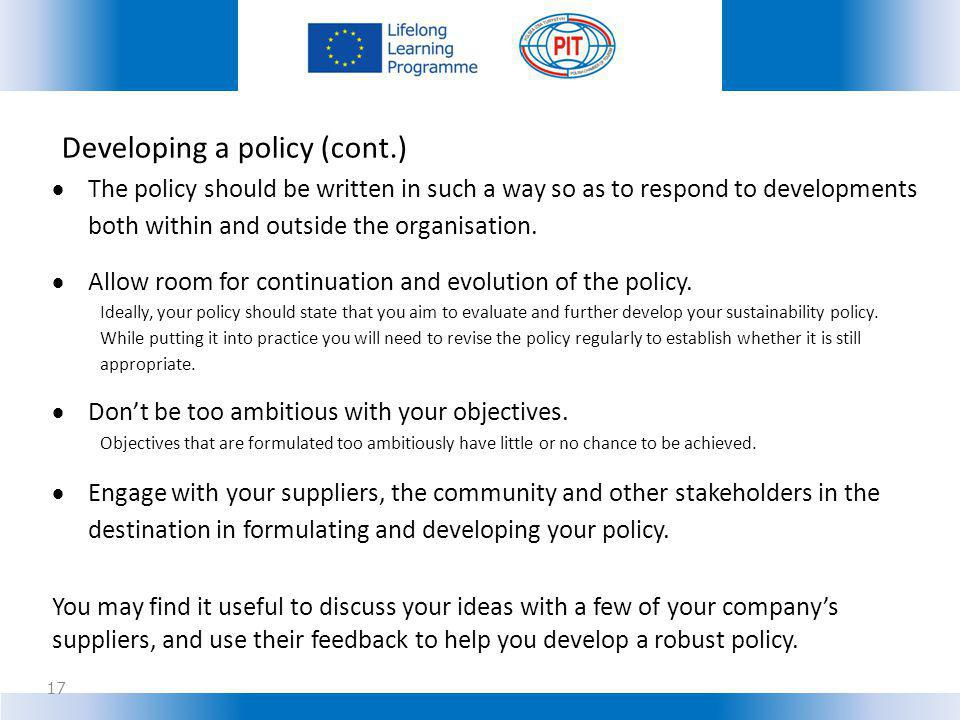 Developing a policy (cont.)