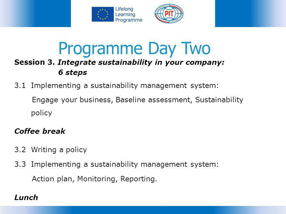 Programme Day Two Session 3. Integrate sustainability in your company:
