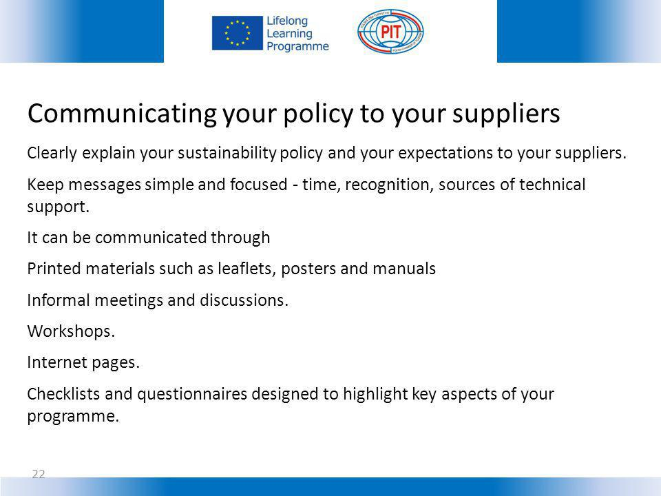 Communicating your policy to your suppliers