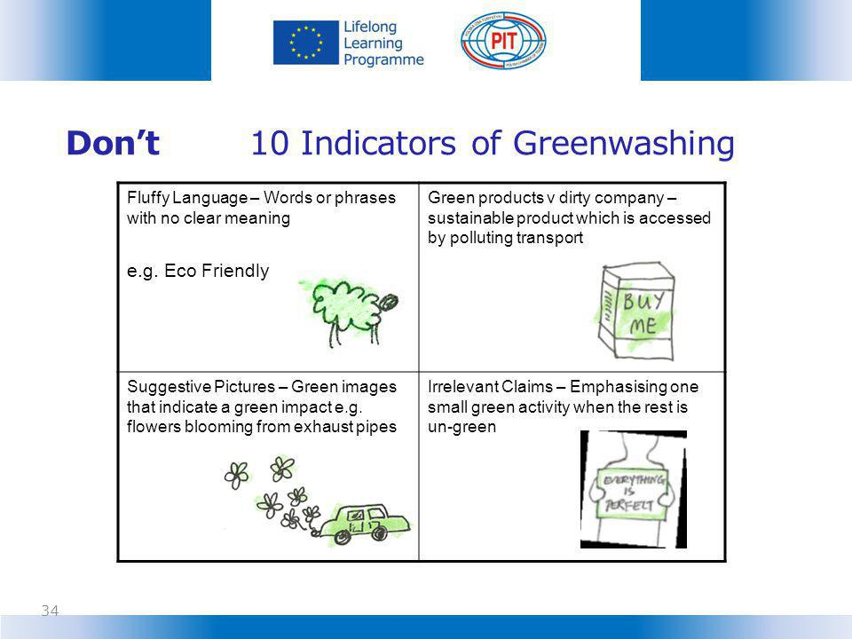 Don't 10 Indicators of Greenwashing