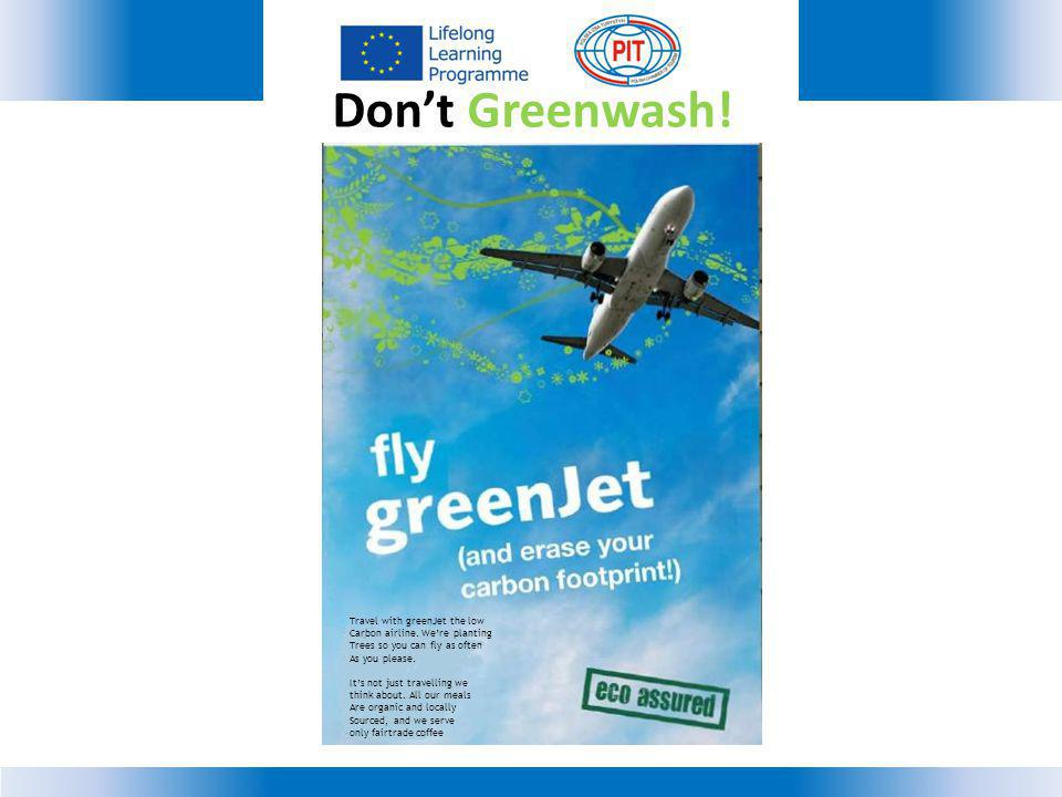 Don't Greenwash! Travel with greenJet the low