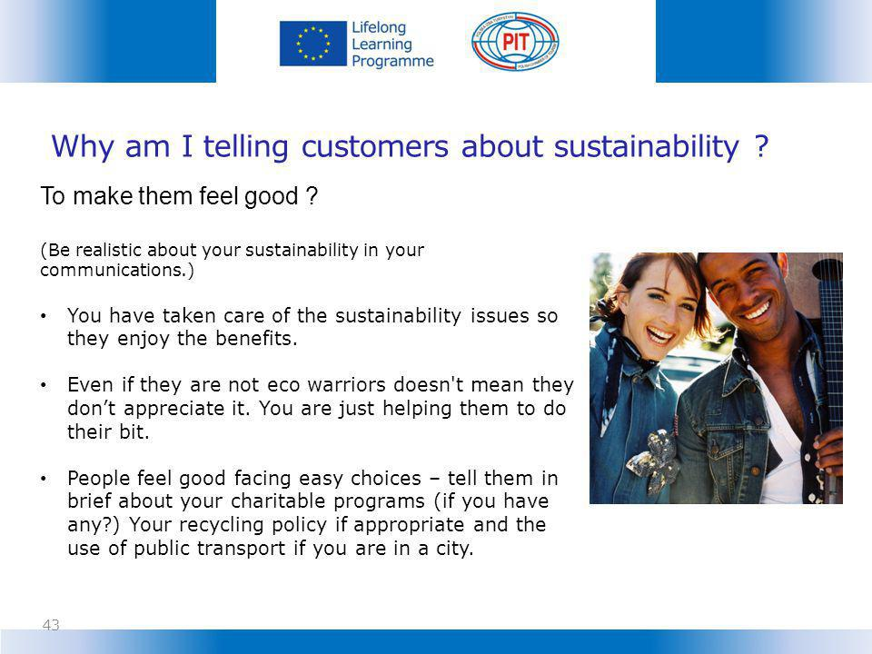 Why am I telling customers about sustainability