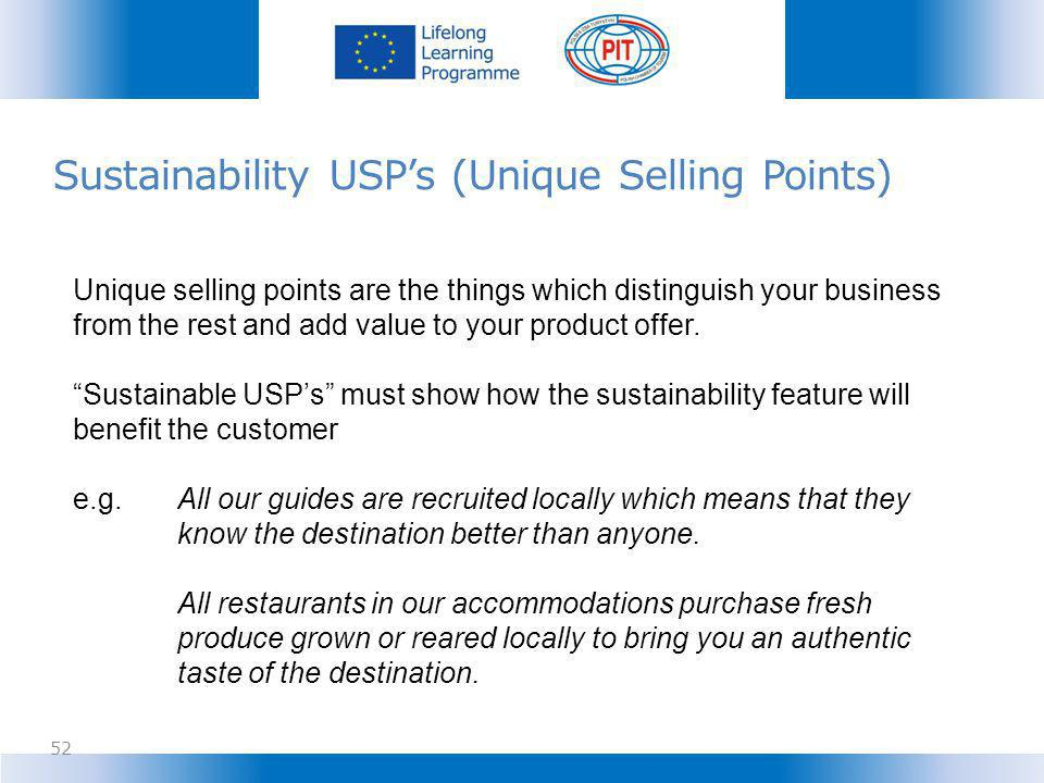 Sustainability USP's (Unique Selling Points)