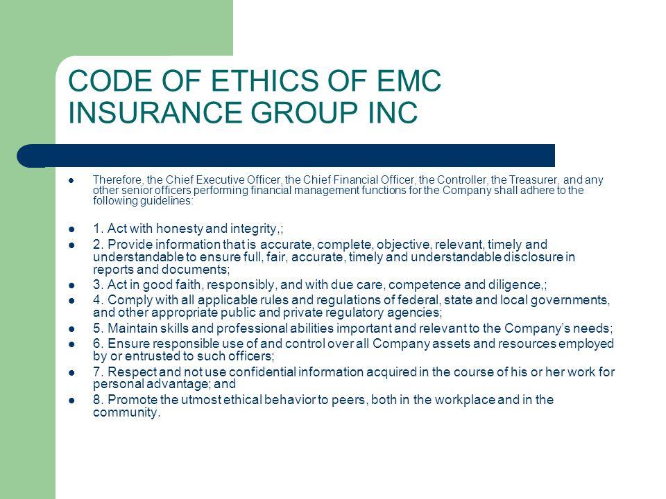 CODE OF ETHICS OF EMC INSURANCE GROUP INC