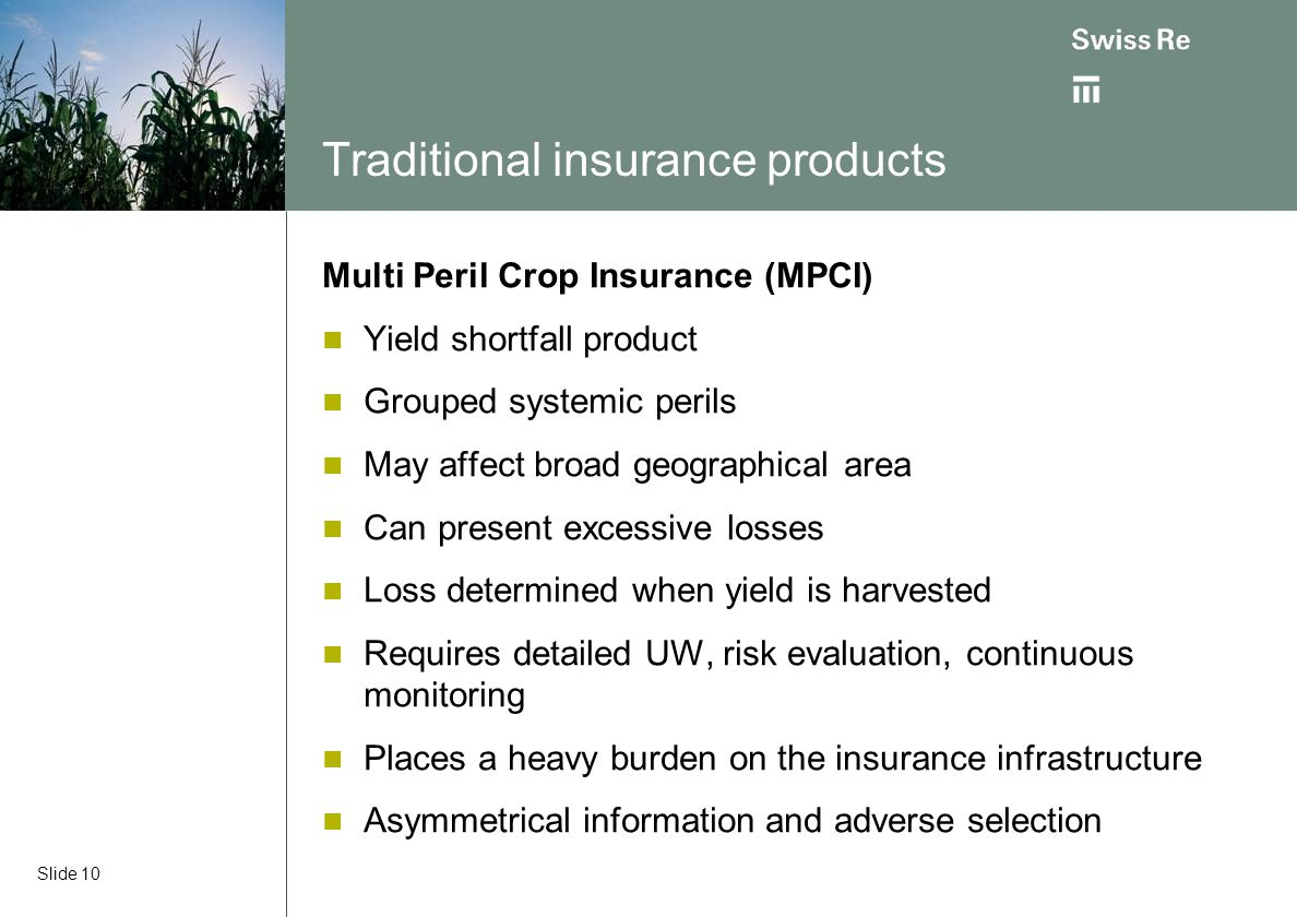 Traditional insurance products