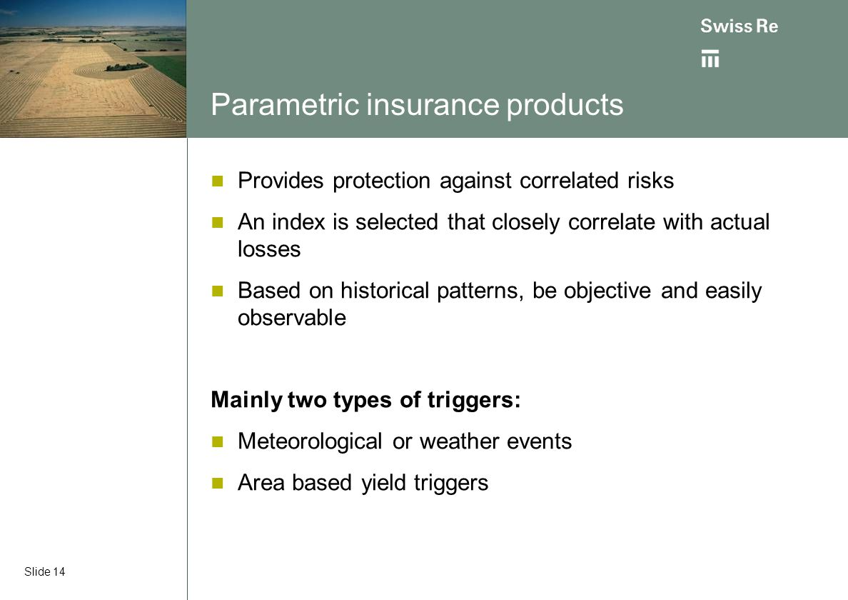 Parametric insurance products