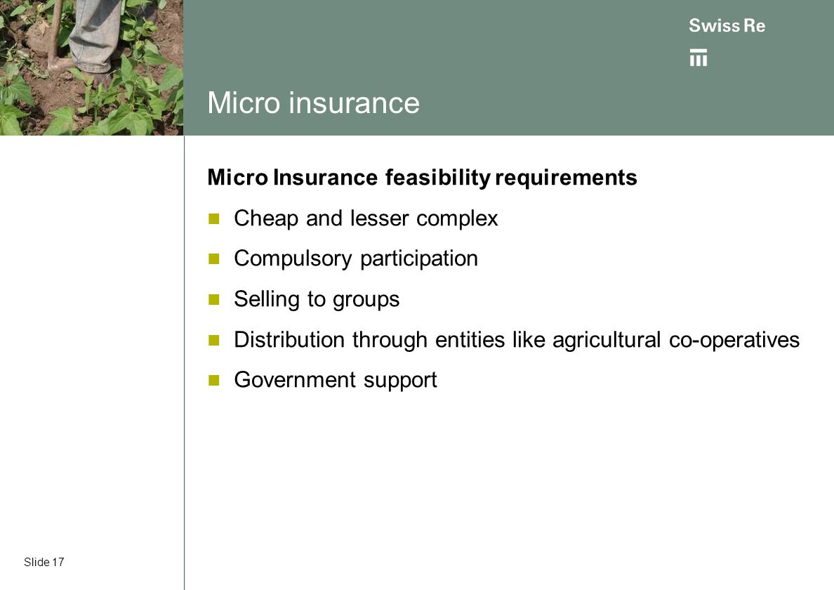Micro insurance Micro Insurance feasibility requirements