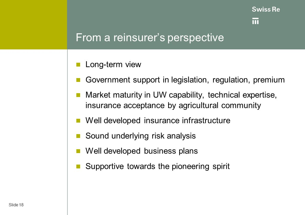 From a reinsurer's perspective