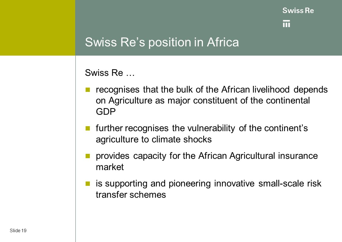 Swiss Re's position in Africa