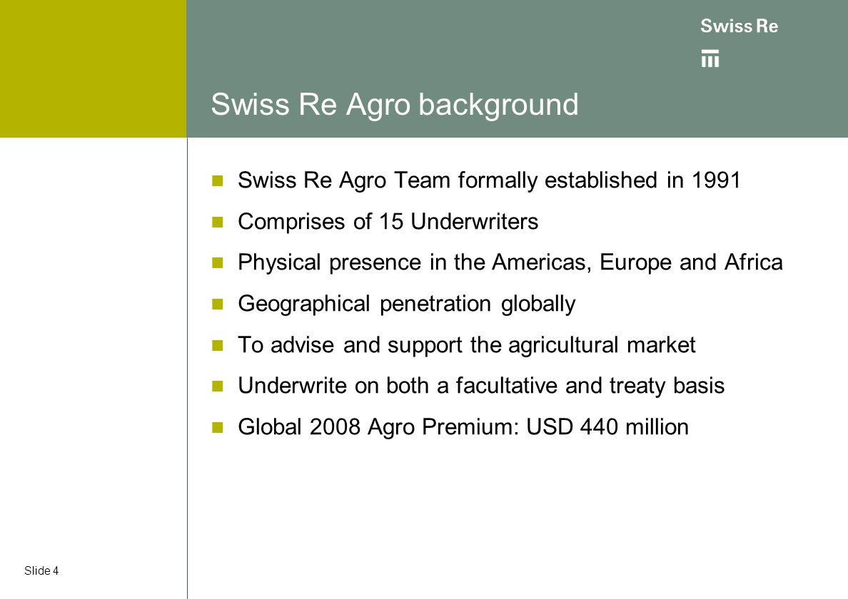 Swiss Re Agro background