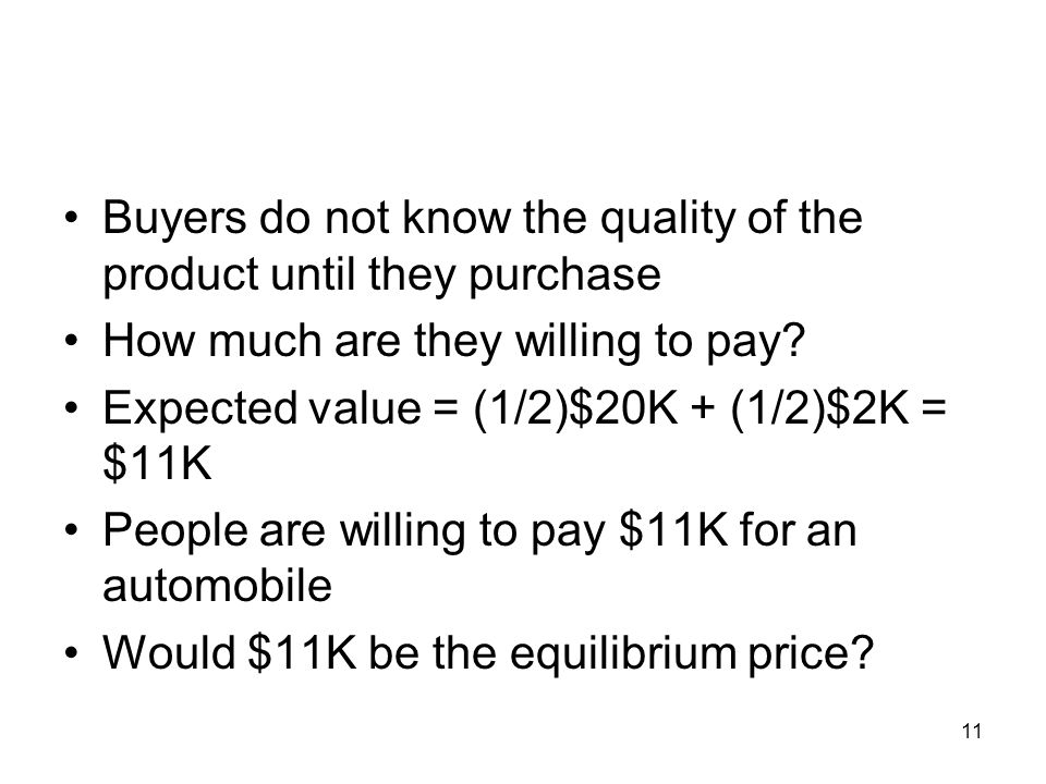 Buyers do not know the quality of the product until they purchase