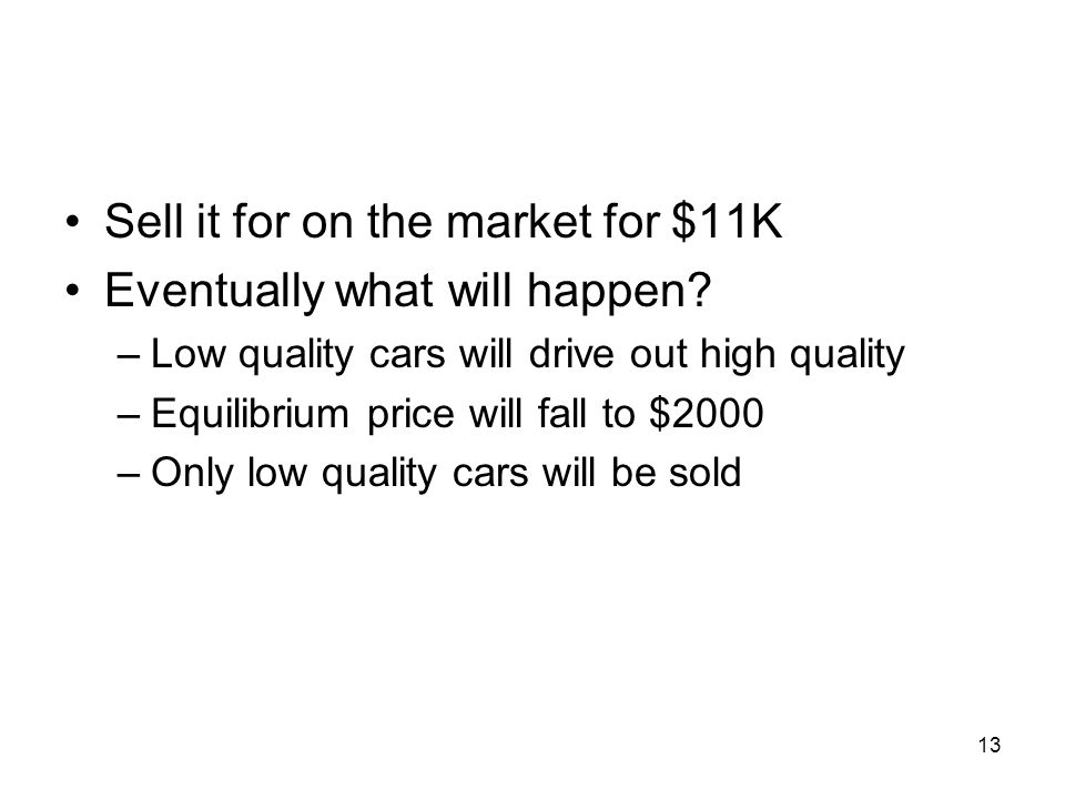 Sell it for on the market for $11K Eventually what will happen