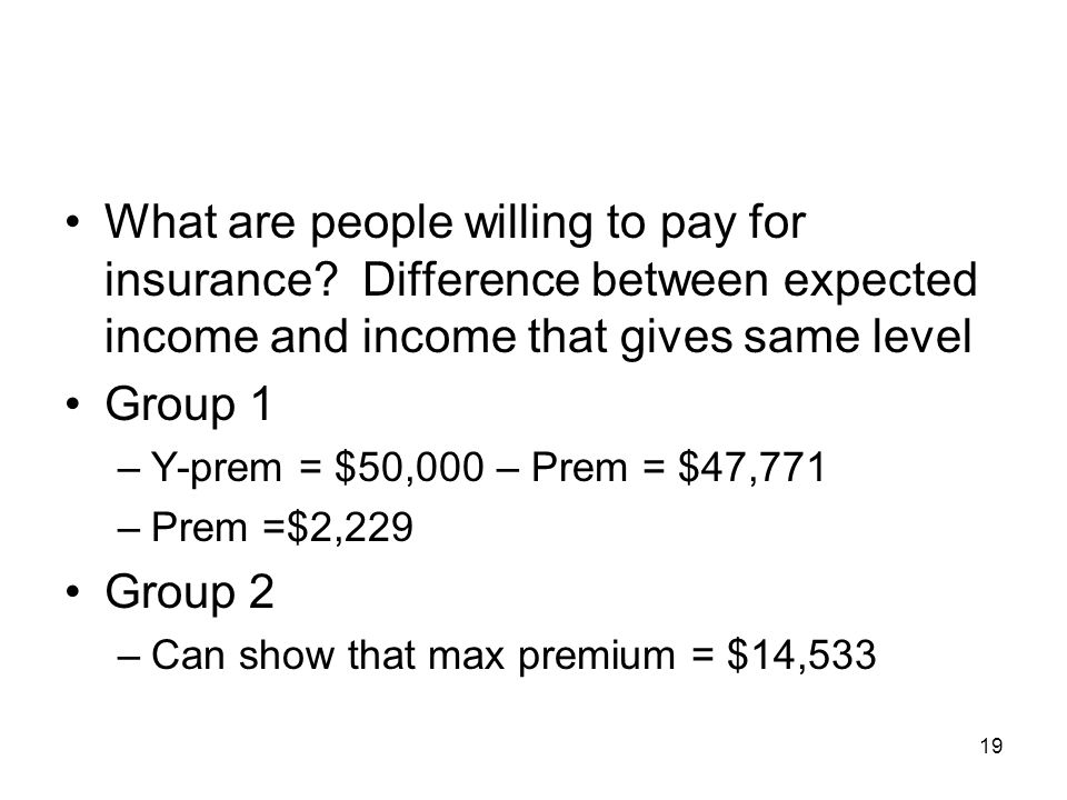 What are people willing to pay for insurance