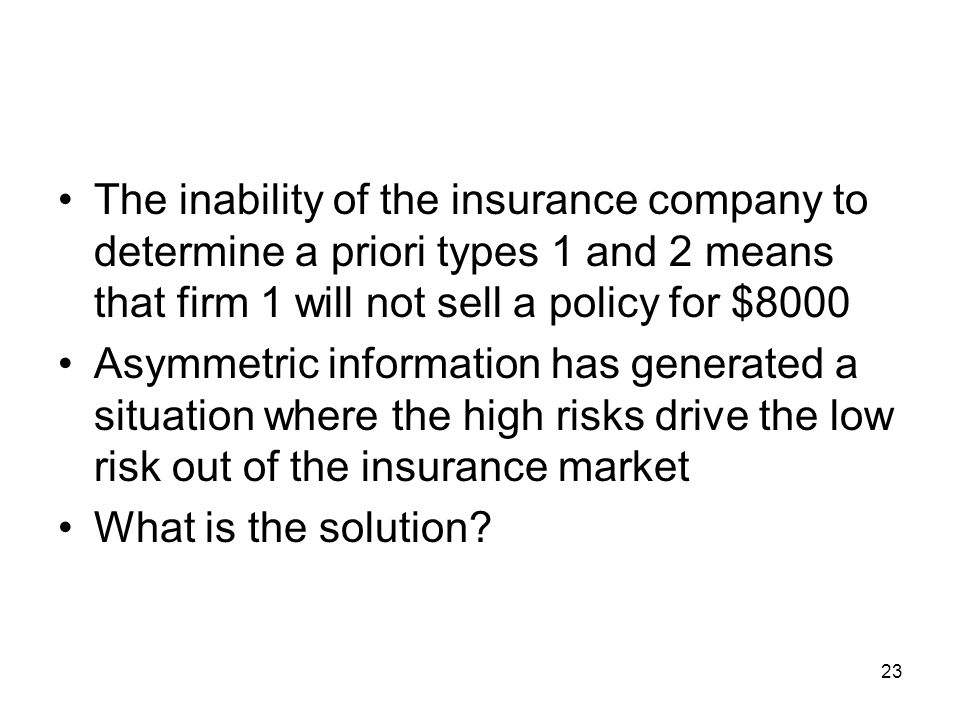 The inability of the insurance company to determine a priori types 1 and 2 means that firm 1 will not sell a policy for $8000
