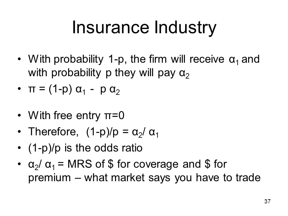 Insurance Industry With probability 1-p, the firm will receive α1 and with probability p they will pay α2.