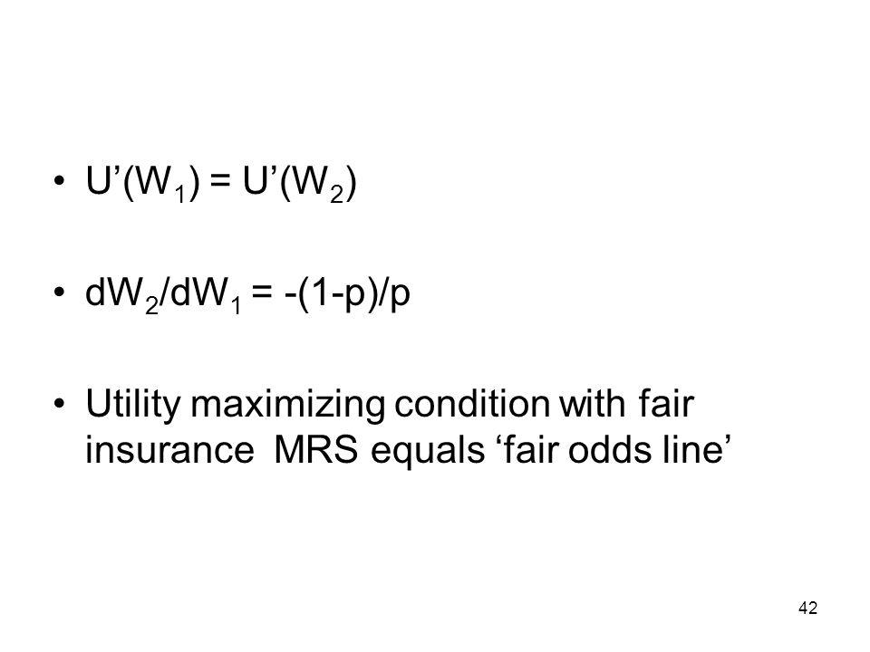 U'(W1) = U'(W2) dW2/dW1 = -(1-p)/p.