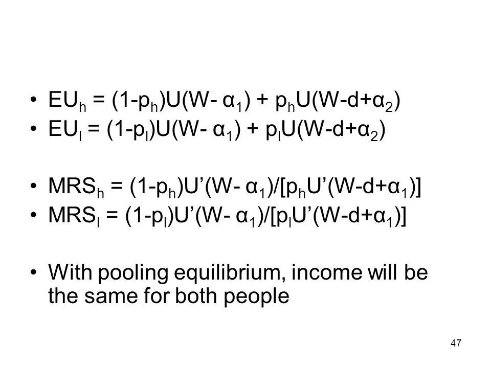 EUh = (1-ph)U(W- α1) + phU(W-d+α2)