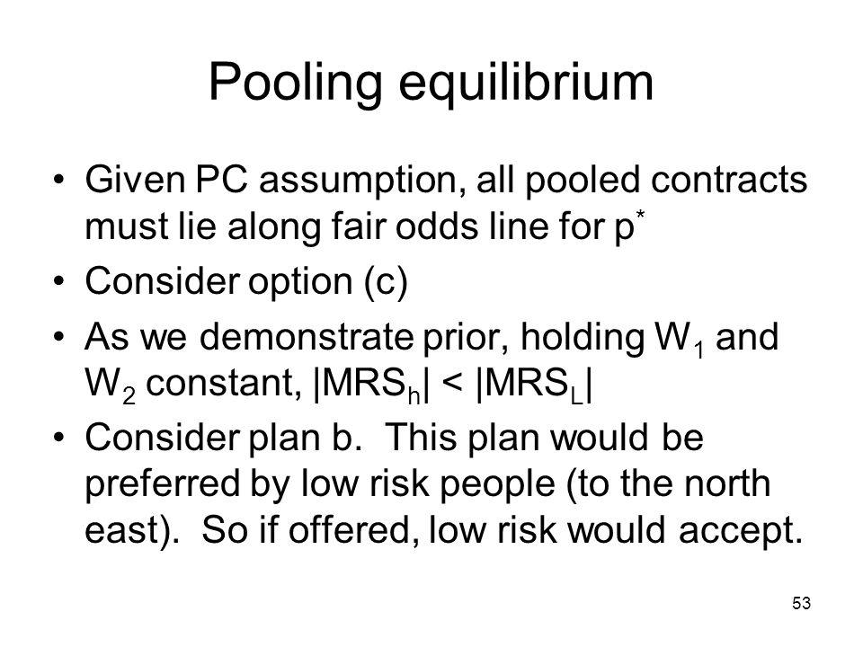 Pooling equilibrium Given PC assumption, all pooled contracts must lie along fair odds line for p* Consider option (c)