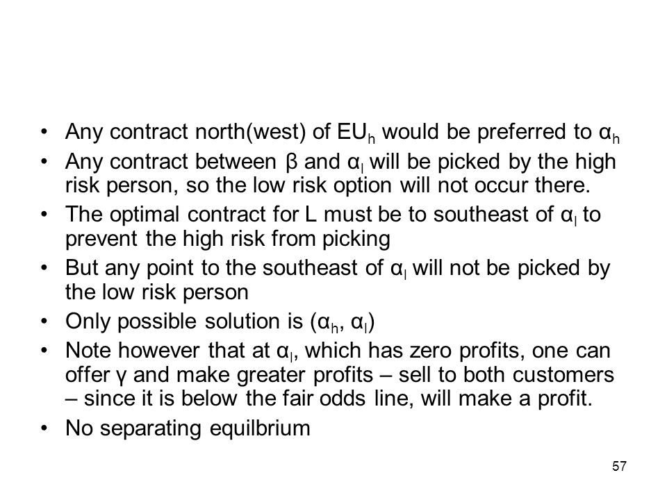 Any contract north(west) of EUh would be preferred to αh