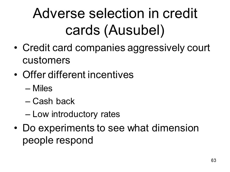 Adverse selection in credit cards (Ausubel)