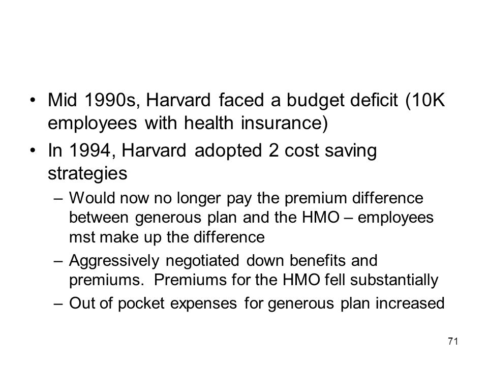 In 1994, Harvard adopted 2 cost saving strategies