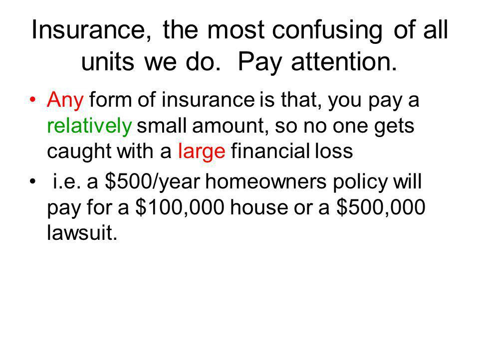 Insurance, the most confusing of all units we do. Pay attention.