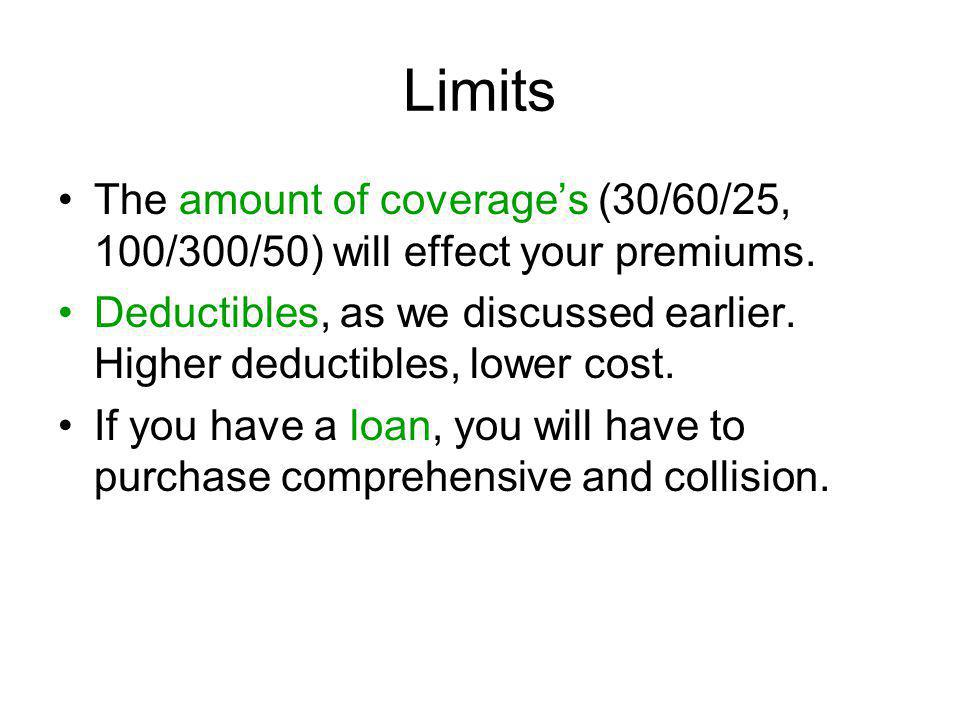 Limits The amount of coverage's (30/60/25, 100/300/50) will effect your premiums.