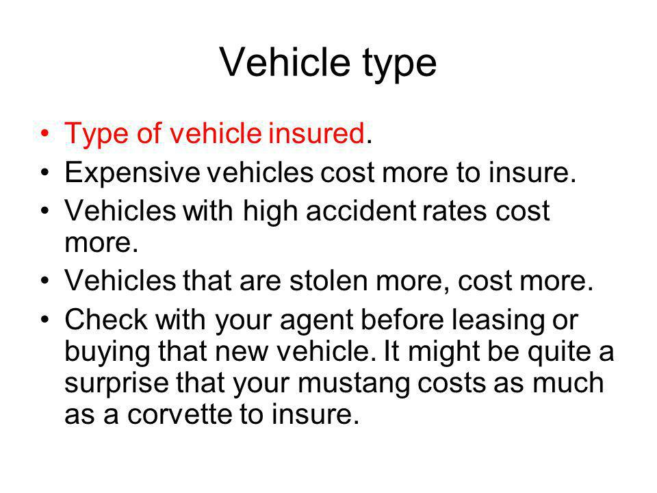 Vehicle type Type of vehicle insured.