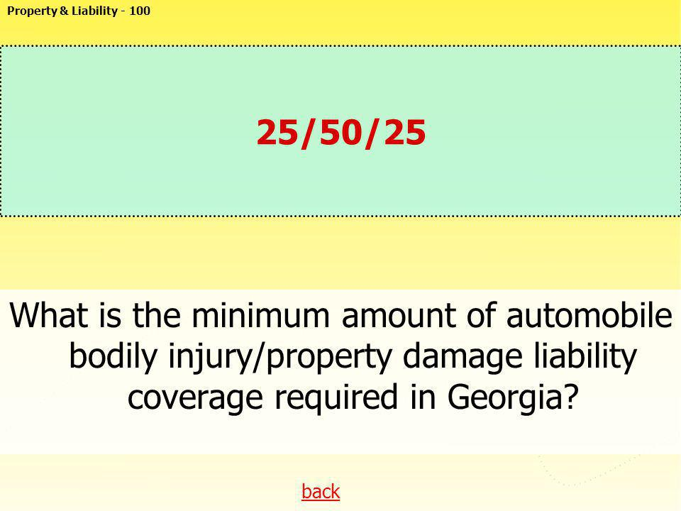 Property & Liability - 100 25/50/25. What is the minimum amount of automobile bodily injury/property damage liability coverage required in Georgia