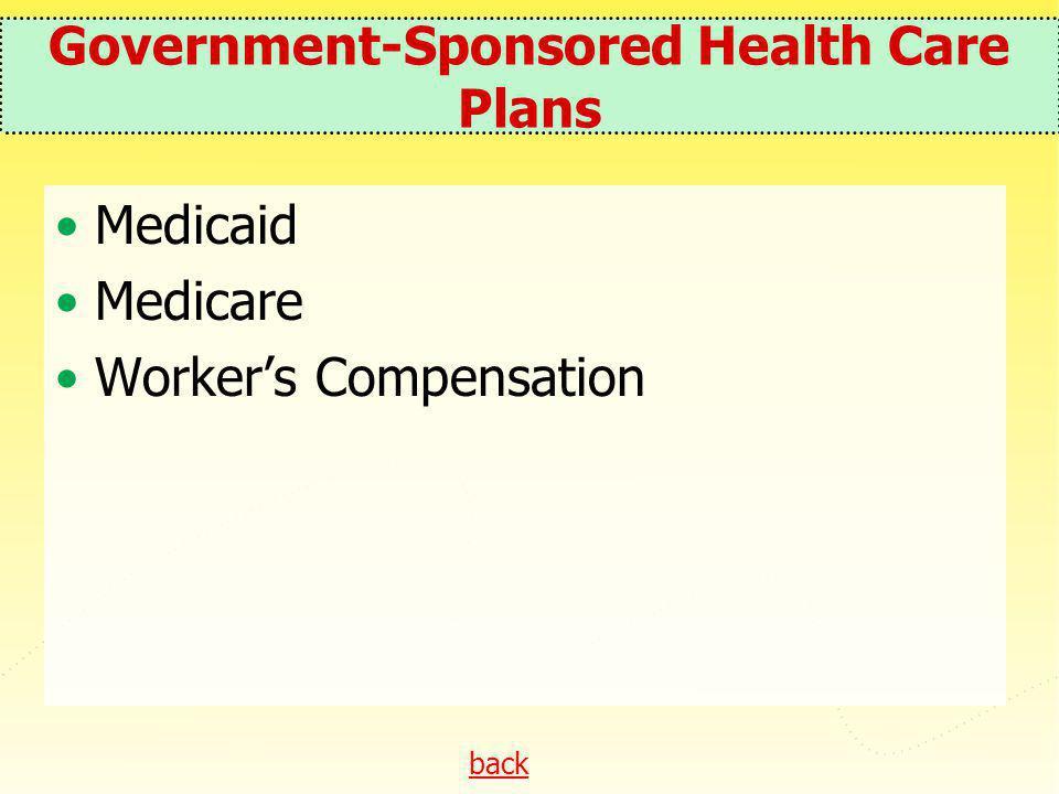Government-Sponsored Health Care Plans